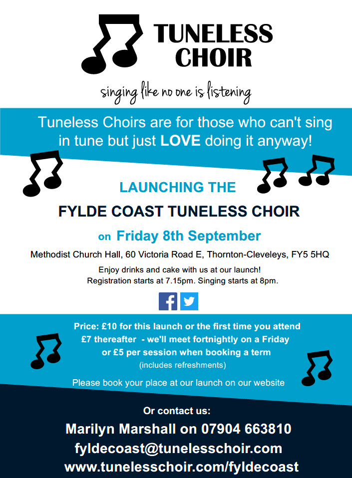 Fylde Coast Tuneless Choir Launch Leaflet