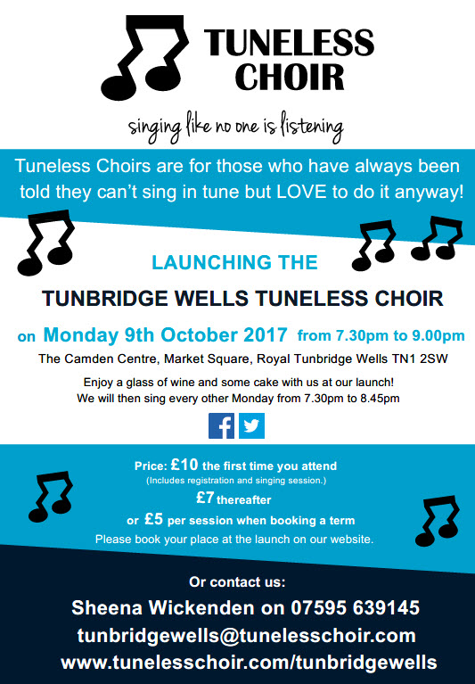 Tunbridge Wells Tuneless Choir Launch Leaflet