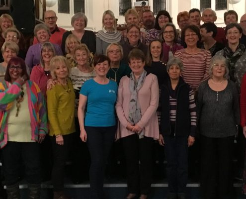 Karen Powell meeting members of Sutton Coldfield Tuneless Choir