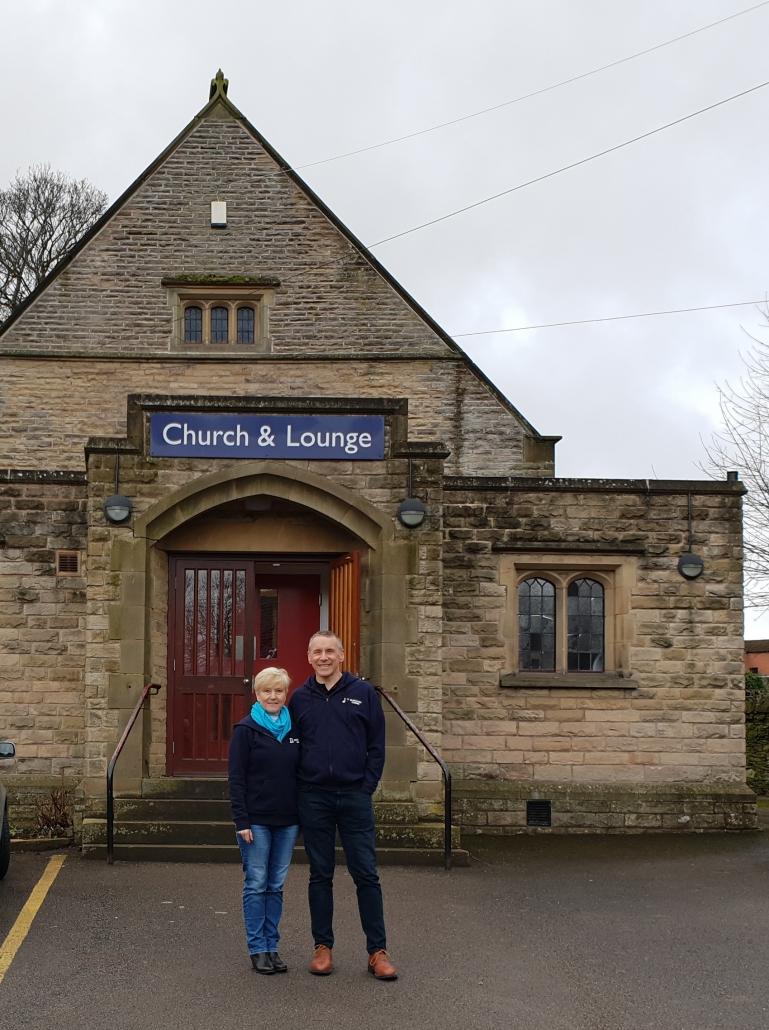 David Goater & Karen Cook by Totley Rise Methodist Church Door